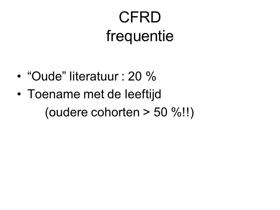 CFRD frequentie Oude literatuur : 20 % Toename met de leeftijd