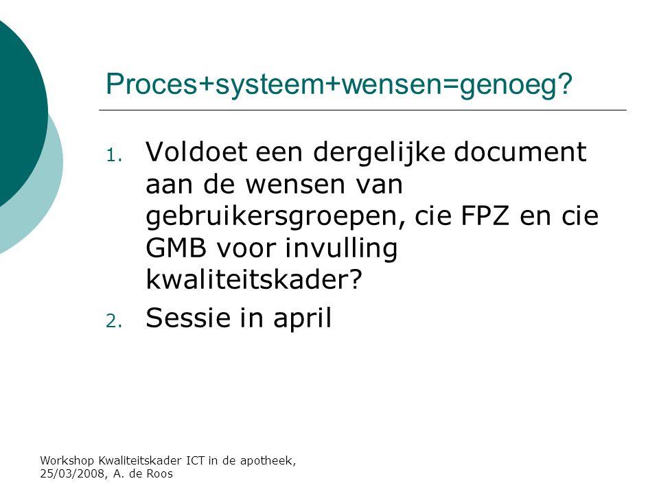 Proces+systeem+wensen=genoeg