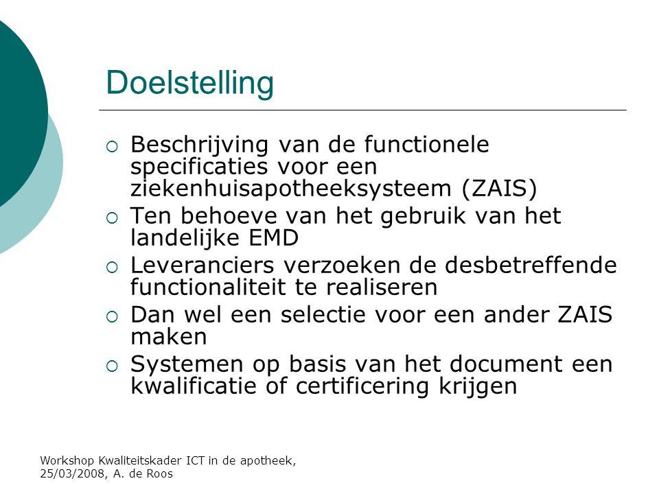 Doelstelling Beschrijving van de functionele specificaties voor een ziekenhuisapotheeksysteem (ZAIS)
