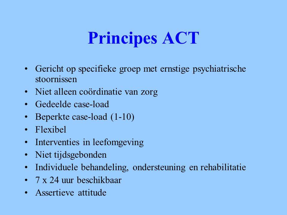 Principes ACT Gericht op specifieke groep met ernstige psychiatrische stoornissen. Niet alleen coördinatie van zorg.