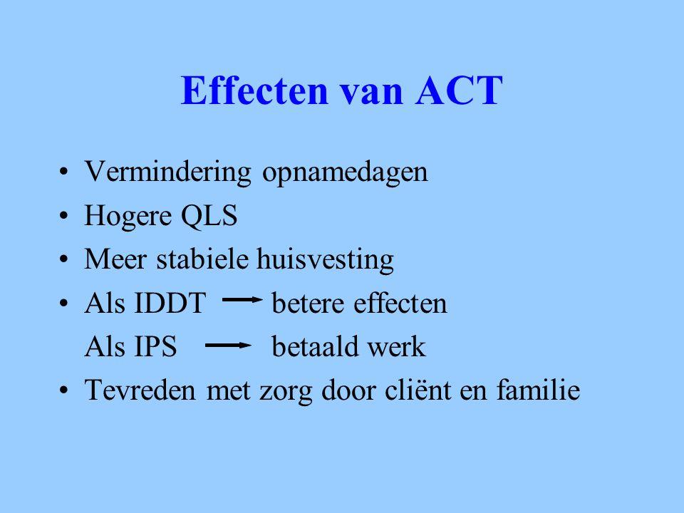 Effecten van ACT Vermindering opnamedagen Hogere QLS