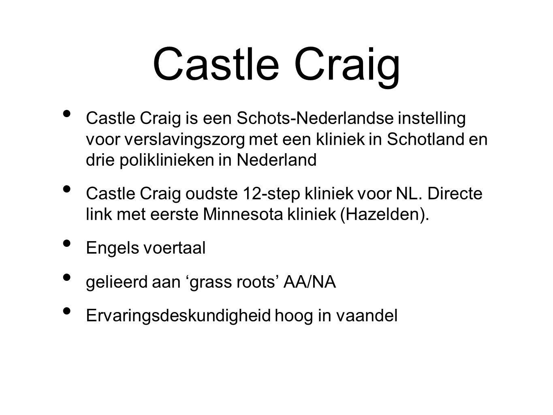 Castle Craig Castle Craig is een Schots-Nederlandse instelling voor verslavingszorg met een kliniek in Schotland en drie poliklinieken in Nederland.