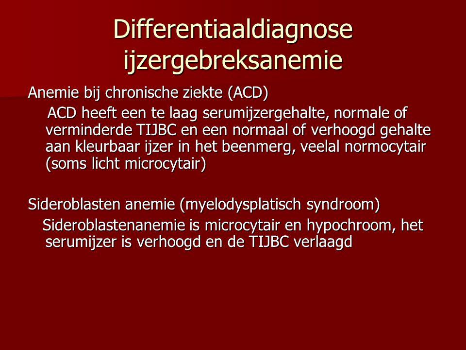 Differentiaaldiagnose ijzergebreksanemie
