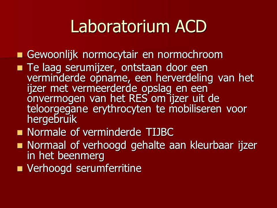Laboratorium ACD Gewoonlijk normocytair en normochroom