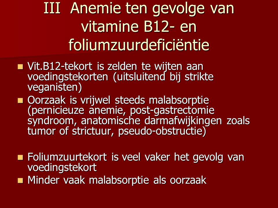 III Anemie ten gevolge van vitamine B12- en foliumzuurdeficiëntie