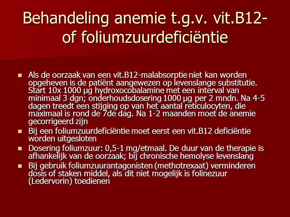 Behandeling anemie t.g.v. vit.B12- of foliumzuurdeficiëntie