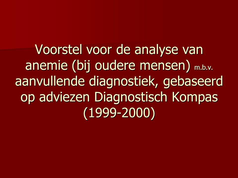 Voorstel voor de analyse van anemie (bij oudere mensen) m. b. v