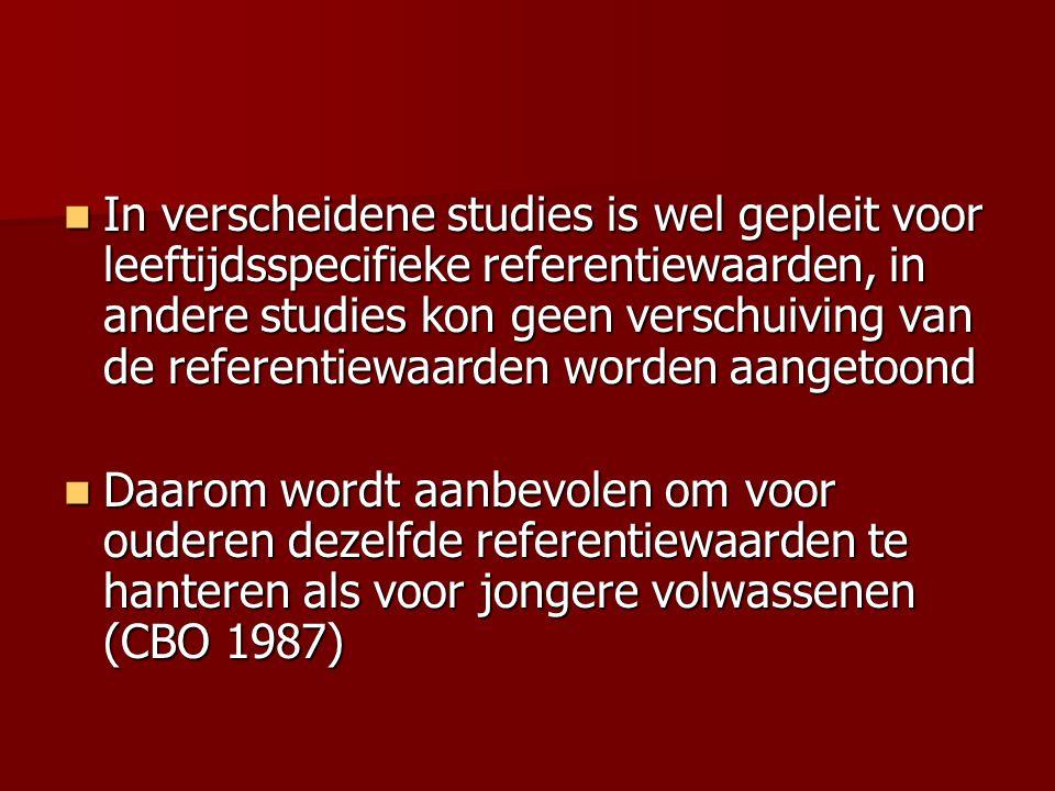 In verscheidene studies is wel gepleit voor leeftijdsspecifieke referentiewaarden, in andere studies kon geen verschuiving van de referentiewaarden worden aangetoond