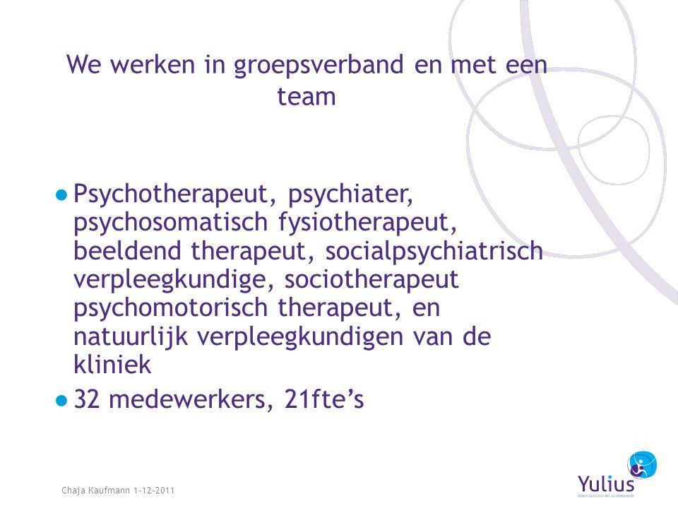 We werken in groepsverband en met een team