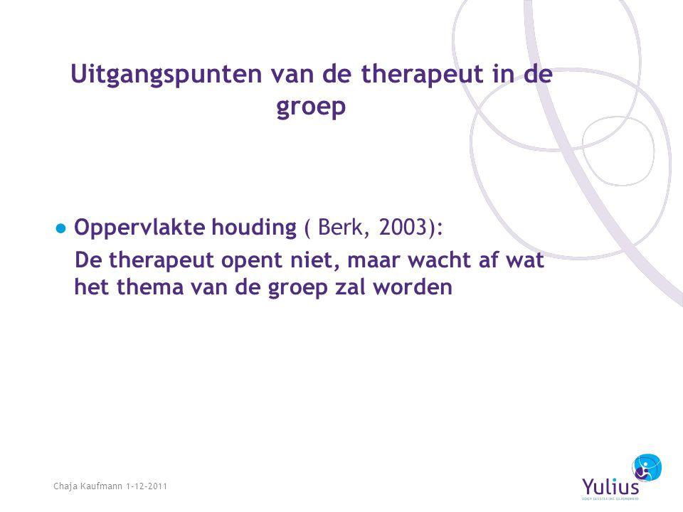 Uitgangspunten van de therapeut in de groep