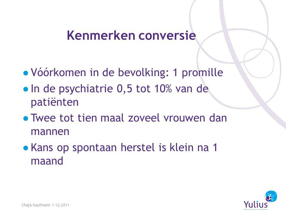 Kenmerken conversie Vóórkomen in de bevolking: 1 promille