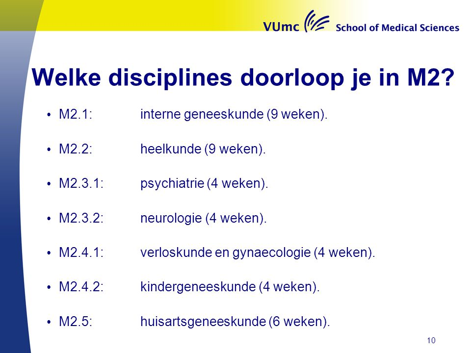 Welke disciplines doorloop je in M2