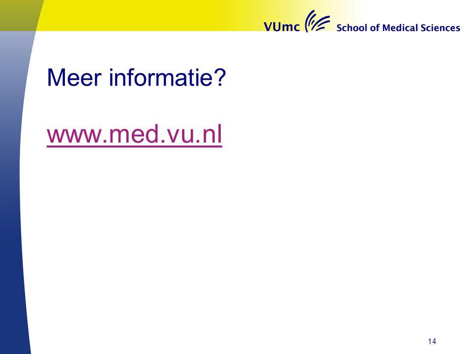 Meer informatie www.med.vu.nl