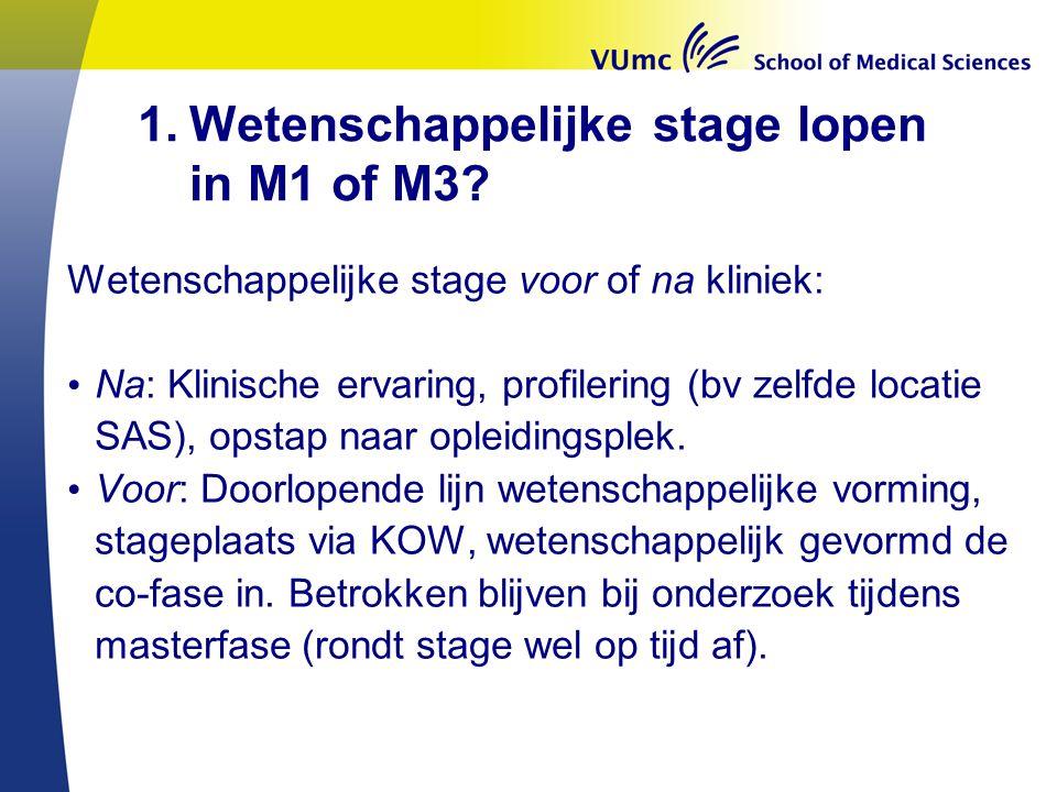 Wetenschappelijke stage lopen in M1 of M3