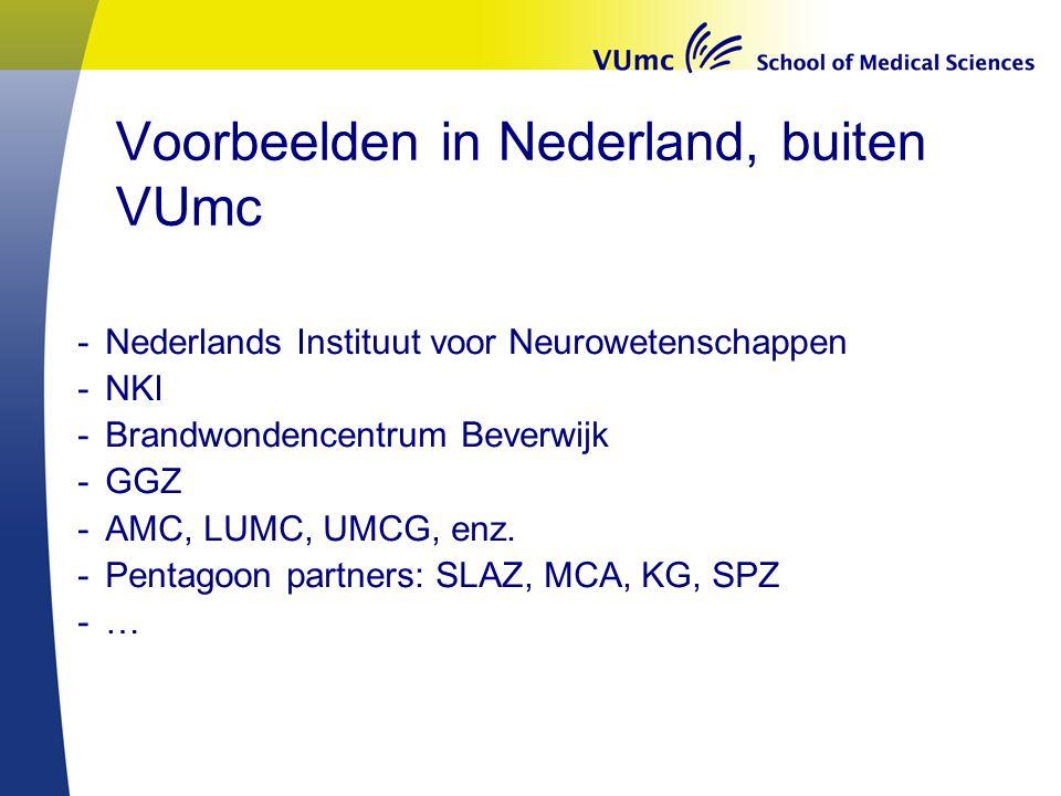 Voorbeelden in Nederland, buiten VUmc