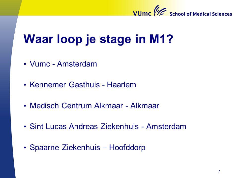 Waar loop je stage in M1 Vumc - Amsterdam Kennemer Gasthuis - Haarlem