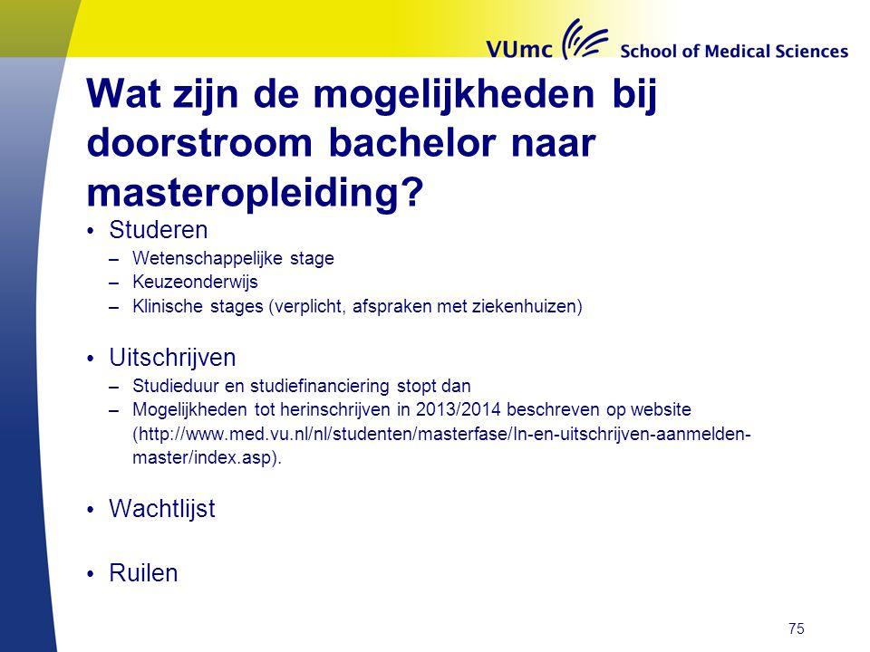 Wat zijn de mogelijkheden bij doorstroom bachelor naar masteropleiding