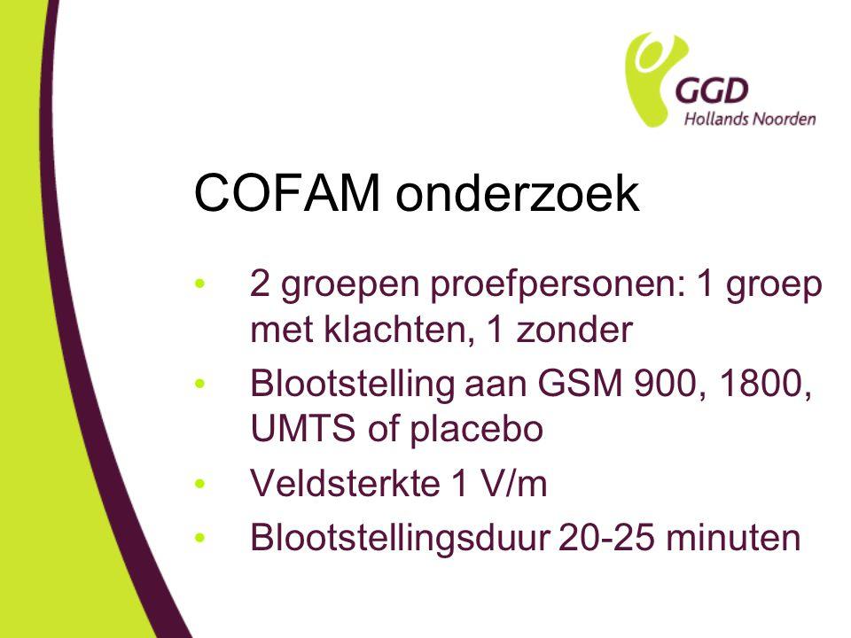 COFAM onderzoek 2 groepen proefpersonen: 1 groep met klachten, 1 zonder. Blootstelling aan GSM 900, 1800, UMTS of placebo.