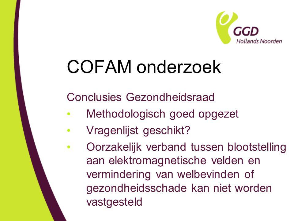 COFAM onderzoek Conclusies Gezondheidsraad Methodologisch goed opgezet