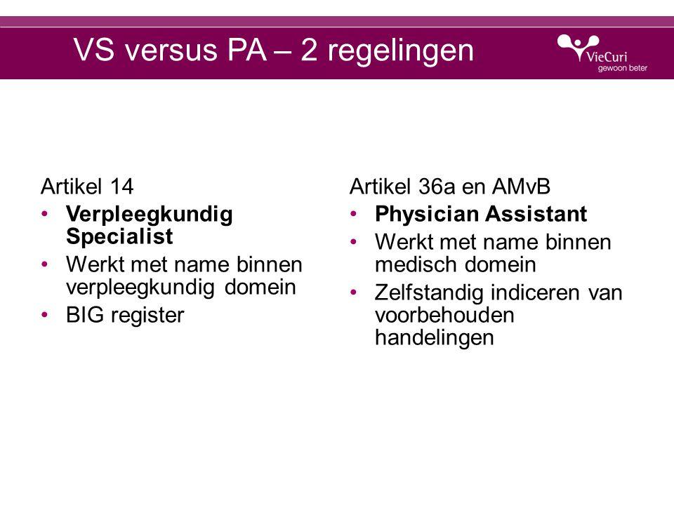 VS versus PA – 2 regelingen