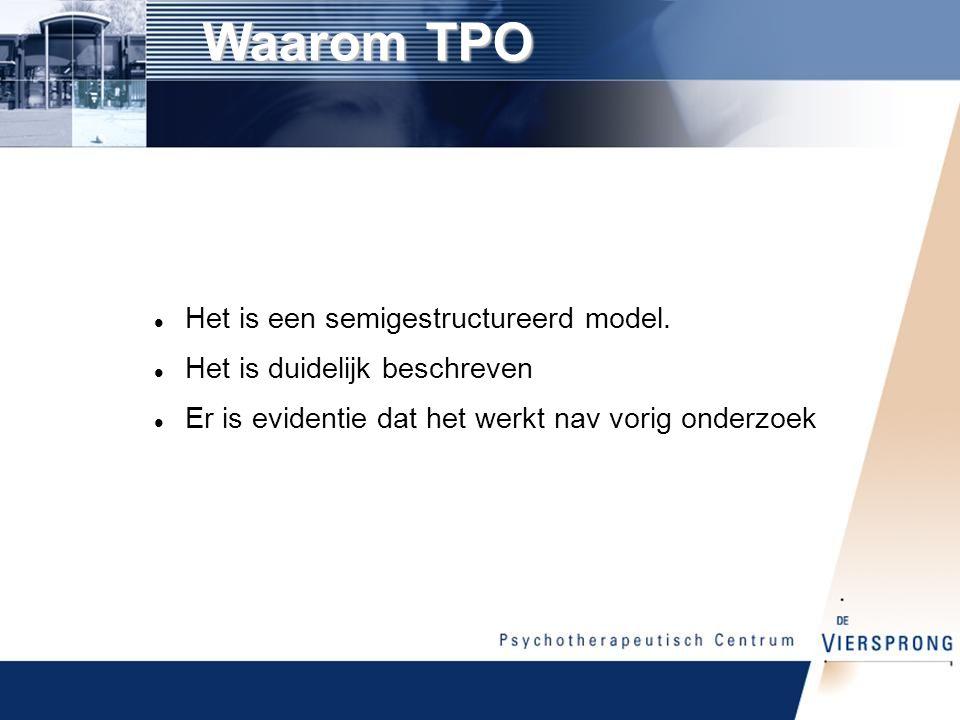 Waarom TPO Het is een semigestructureerd model.
