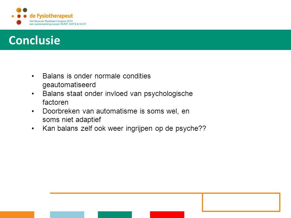 Conclusie Balans is onder normale condities geautomatiseerd