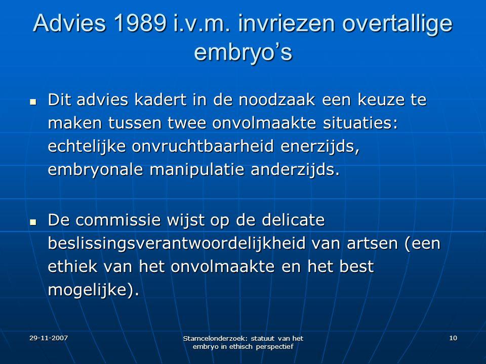 Advies 1989 i.v.m. invriezen overtallige embryo's