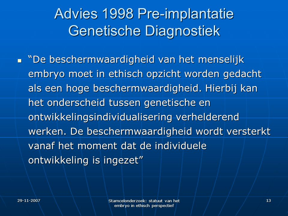 Advies 1998 Pre-implantatie Genetische Diagnostiek