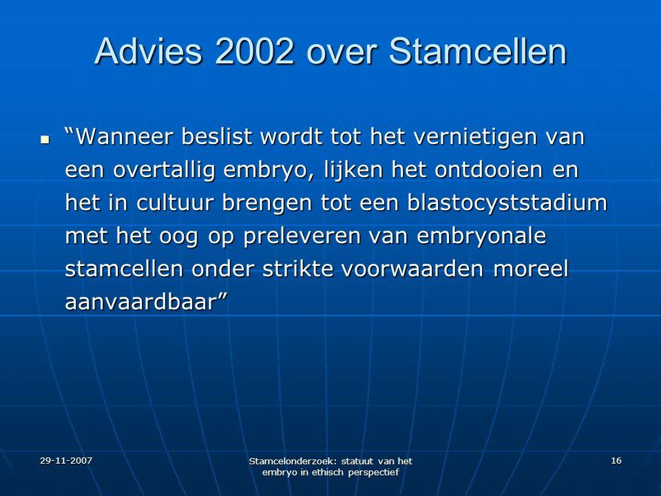Advies 2002 over Stamcellen