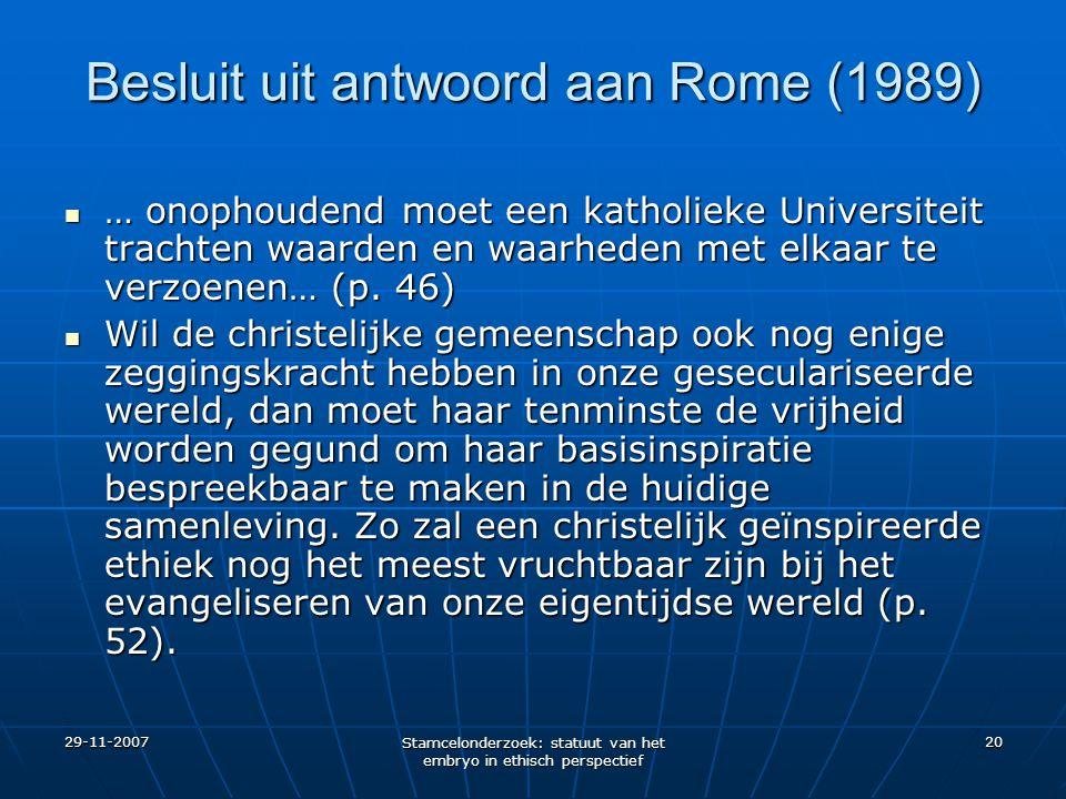 Besluit uit antwoord aan Rome (1989)