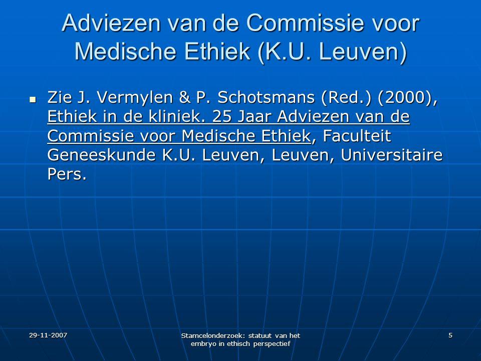 Adviezen van de Commissie voor Medische Ethiek (K.U. Leuven)