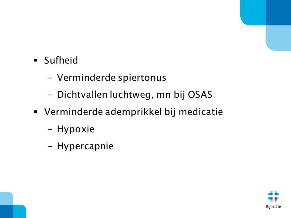 Sufheid Verminderde spiertonus. Dichtvallen luchtweg, mn bij OSAS. Verminderde ademprikkel bij medicatie.