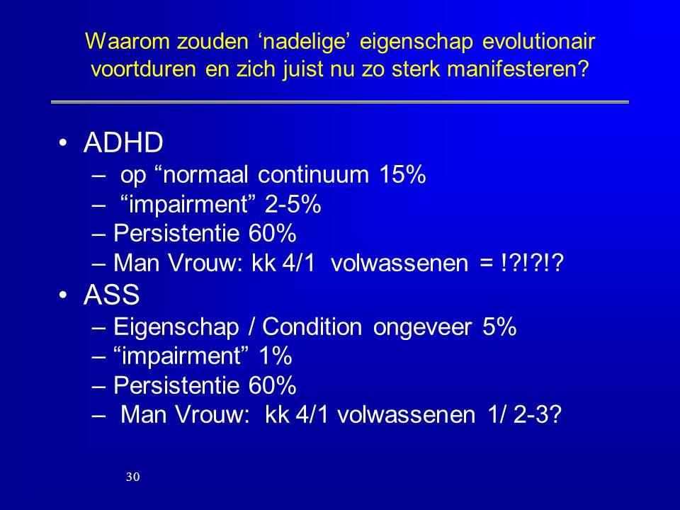ADHD ASS op normaal continuum 15% impairment 2-5% Persistentie 60%