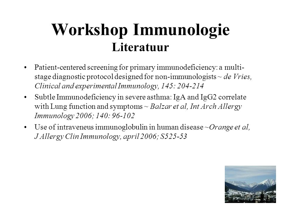 Workshop Immunologie Literatuur