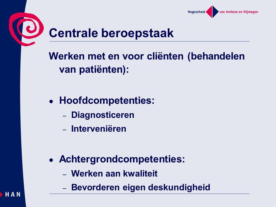 Centrale beroepstaak Werken met en voor cliënten (behandelen van patiënten): Hoofdcompetenties: Diagnosticeren.