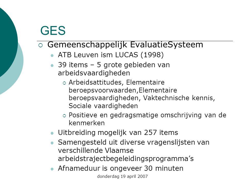 GES Gemeenschappelijk EvaluatieSysteem ATB Leuven ism LUCAS (1998)