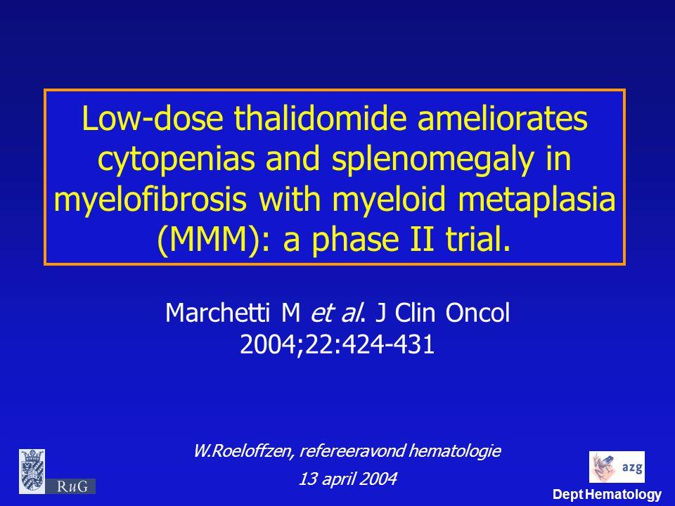 Marchetti M et al. J Clin Oncol 2004;22:424-431