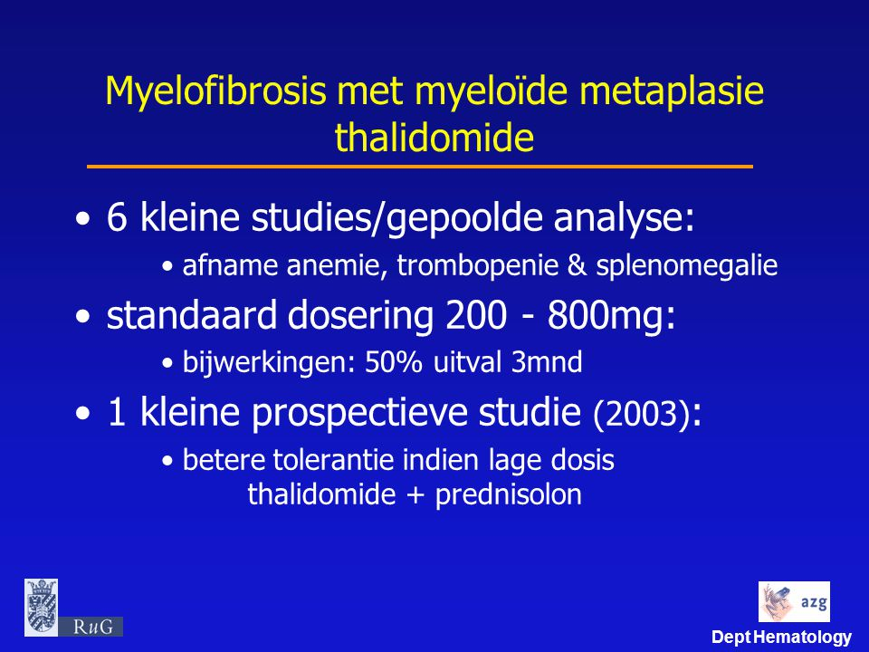 Myelofibrosis met myeloïde metaplasie thalidomide