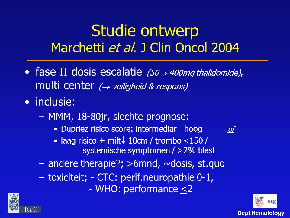 Studie ontwerp Marchetti et al. J Clin Oncol 2004