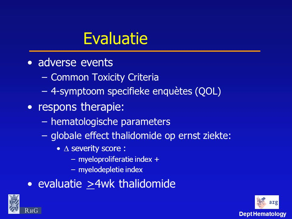 Evaluatie adverse events respons therapie: