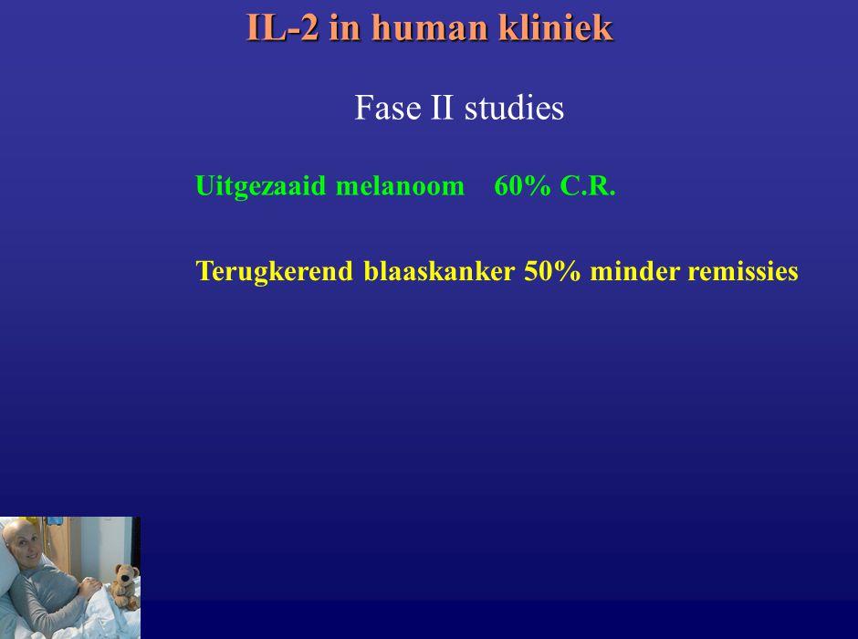 IL-2 in human kliniek Fase II studies Uitgezaaid melanoom 60% C.R.