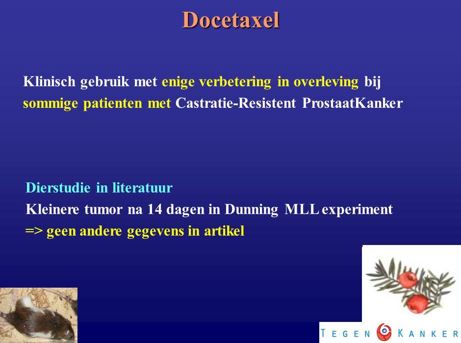 Docetaxel Klinisch gebruik met enige verbetering in overleving bij