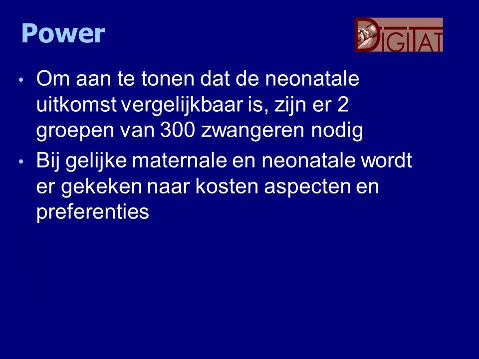 Power Om aan te tonen dat de neonatale uitkomst vergelijkbaar is, zijn er 2 groepen van 300 zwangeren nodig.