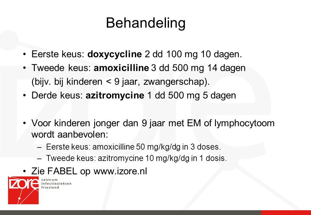 Behandeling Eerste keus: doxycycline 2 dd 100 mg 10 dagen.