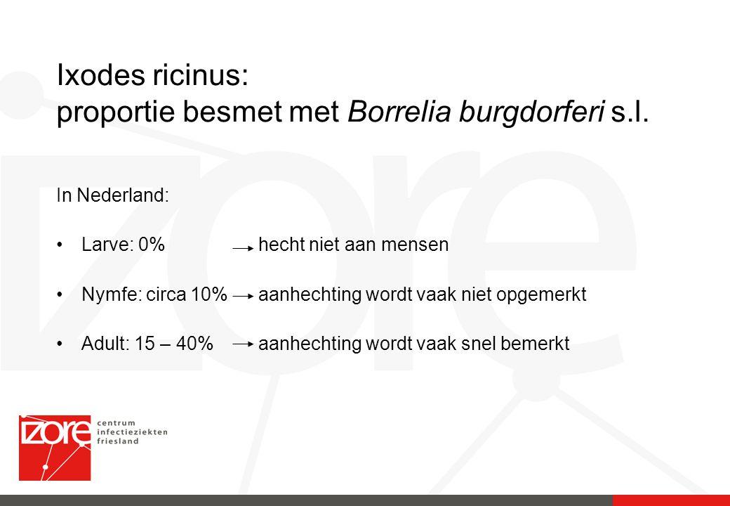 Ixodes ricinus: proportie besmet met Borrelia burgdorferi s.l.