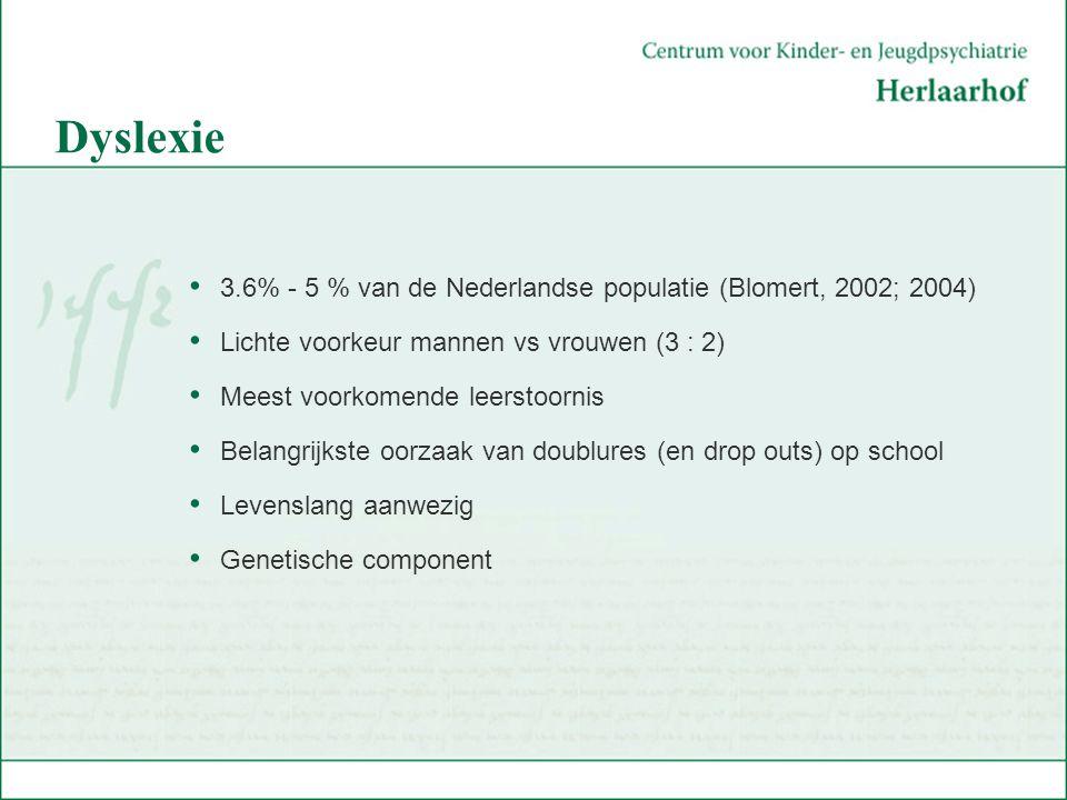 Dyslexie 3.6% - 5 % van de Nederlandse populatie (Blomert, 2002; 2004)