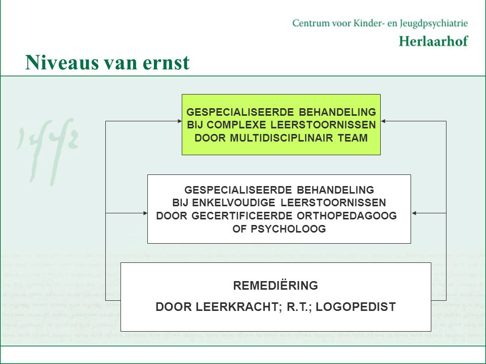 Niveaus van ernst REMEDIËRING DOOR LEERKRACHT; R.T.; LOGOPEDIST