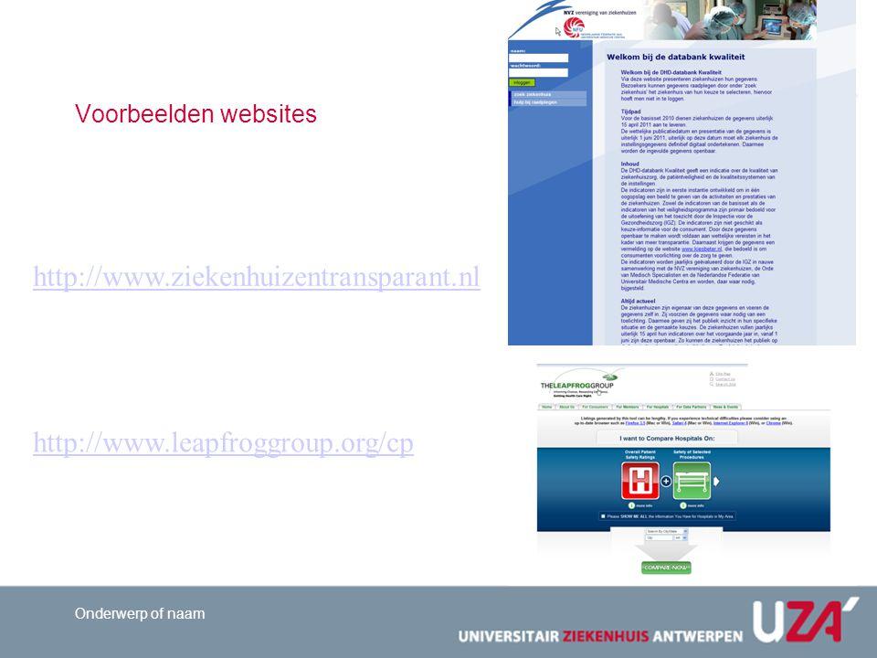 http://www.ziekenhuizentransparant.nl http://www.leapfroggroup.org/cp