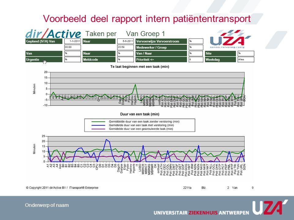 Voorbeeld deel rapport intern patiëntentransport