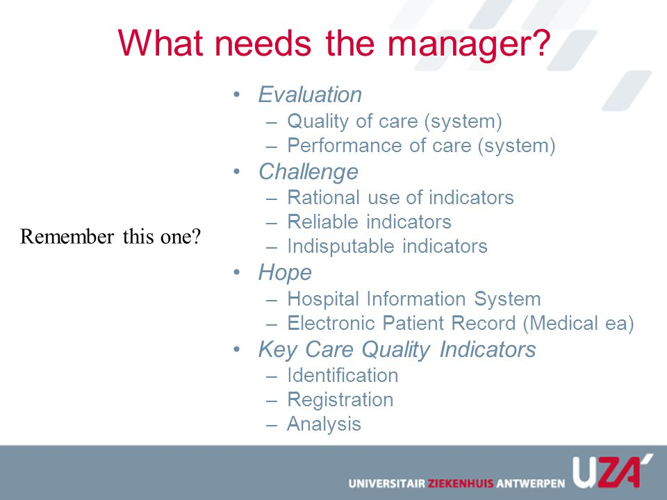 What needs the manager Evaluation Challenge Hope